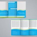 Tri-fold business brochure template, vector blue design flyer — Stock Vector