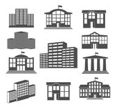 House icon set. Business buildings — Stock Vector