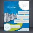 Blue business flyer or brochure. Design template with the city a — Stock Vector #42648513