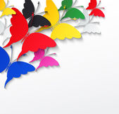 Multicolored butterflies on a white background — Stock Vector