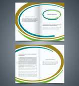 Booklet template design with brown, blue and green elements, lay — Stock Vector