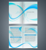 Blue booklet, template design  with waves, layout business broch — Stock Vector