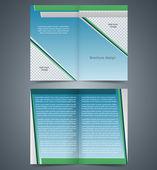 小册子模板,蓝色和绿色元素,布局埠的设计 — 图库矢量图片