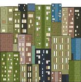 都市住宅の手描きのカラフルなパノラマ — ストックベクタ