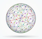 Multicoloured sphere of global digital connections, network — Stock Vector
