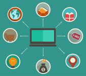 Diseño plano finanzas online app, análisis financiero de seguimiento de — Stockvector