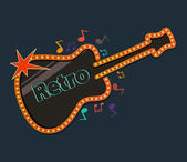 Retro guitar with music notes — Stock Vector