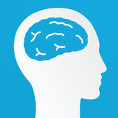 Thinking man, Creative brain Idea concept on a blue background. — Stock Vector