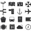 Travel icons, set of black icons tourism — Stock Vector #47416031