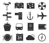 Travel icons, set of black icons tourism — Stock Vector