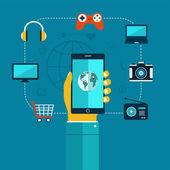 понятие мобильные приложения телефон в руке, покупки, развлечения. — Cтоковый вектор