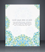 Flyer, brochure or cover layout design template with floral patt — Stock Vector
