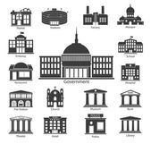 Building Icons set, Government buildings — Stock Vector