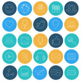 Flat lines icons of social network. SEO and internet. Elements f — Stock Vector