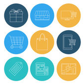 Flat lines shopping icons, ecommerce. Elements for web and mobil — Stock Vector