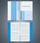 Geometric Blue bifold brochure template design, business leaflet — Stock Vector