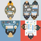 Groups of business people working for office desk. New  idea of  — Wektor stockowy
