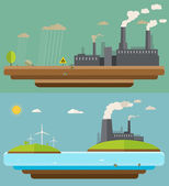 Ecology concept. Green energy and environment pollution designs, nuclear power plant, flat design — 图库矢量图片