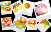 Colourful fruit and veg collage — Stock Photo