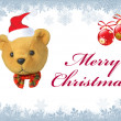 Merry christmas text with cute bear — ストック写真