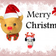 Merry christmas text with cute bear — 图库照片