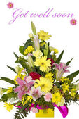 Beautiful bouquet of flowers with get well soon text — Stock Photo