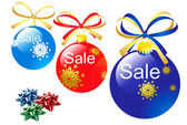 Christmas bauble icons with sale text — Stock Photo