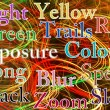 Colourful light trails abstract with added text — Stock Photo