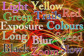 Colourful light trails abstract with added text — Stok fotoğraf