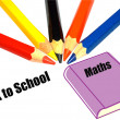 Back to school concept with coloured pencils  — Stock Photo