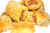Close-up of home made sausage rolls — Stock Photo