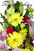 Flower birthday card — Stock Photo