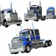 Heavy trucks isolated collage — Stock Photo