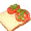 Open tuna and tomato sandwich isolated — Stock Photo