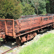 Foto Stock: Old historic wooden train carriage
