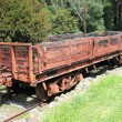 Stockfoto: Old historic wooden train carriage