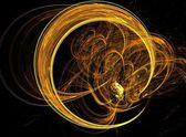 黄色の土星リング フラクタル抽象的な背景 — ストック写真