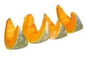 Freshly cut pumpkin pieces — Stock Photo