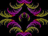 Coloured symmetrical curl fractal abstract — Stock Photo