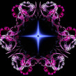 Blue glowing star in floral frame fractal abstract — Stock Photo #37341671