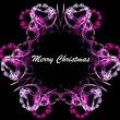 Stock Photo: Pink floral fractal frame with merry christmas text