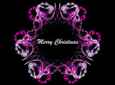 Pink floral fractal frame with merry christmas text — Stock Photo