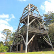 Stock Photo: Old wooden Australicoal mining derrick structure
