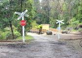 Train and tram rail crossing — Stock Photo