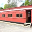 Stock Photo: Old red passenger train carriage