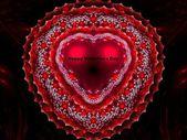Red Happy Valentine's Day heart fractal — ストック写真