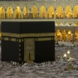 Pilgrims circumambulate the Kaaba at Masjidil Haram in Makkah, Saudi Arabia. Muslims all around the world face the Kaaba during prayer time. — Stock Photo