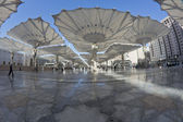 Fisheye view of giant canopies at Masjid Nabawi compound in Medina, Kingdom of Saudi Arabia — Stock Photo