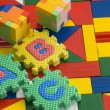 Colorful blocks and alphabets — 图库照片