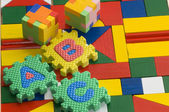 Colorful blocks and alphabets — Stock Photo
